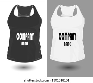 Vector illustration fitness jersey for women. Realistic illustration of sportswear. Realistic vector objects on a gray background. White black colors.