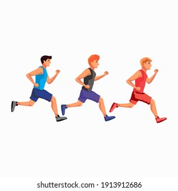 vector Illustration Fitness people running or athletic vector people running.