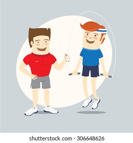Vector illustration Fitness personal trainer and funny sportsman jumping with skipping rope