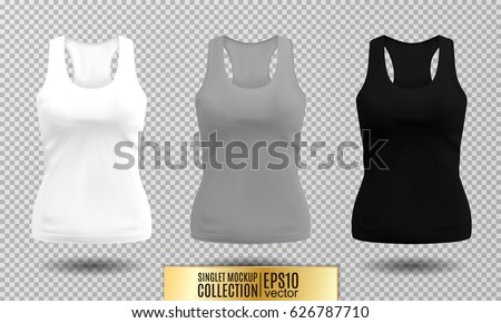 72b8a6fae396b1 Vector illustration of fitness tank top for women. Realistic illustration  sport wear. Realistic vector