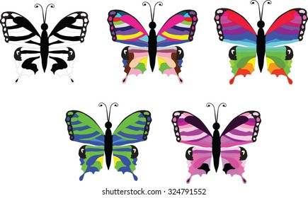Vector illustration of five colorful butterfly icon set