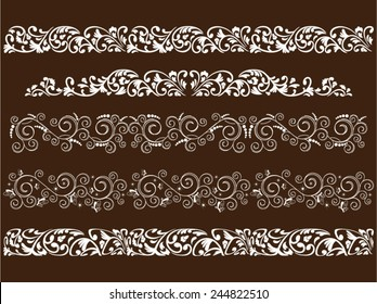Vector illustration of five curled patterns on dark background.