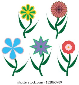 the vector illustration of five different flowers