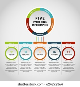 Vector illustration of five parts tree infographic design element.