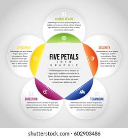 Vector illustration of five petals infographic design element.