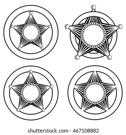 Vector illustration five pointed sheriffs star in circle set