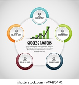Vector illustration of Five Process Circle Clips Infographic design element.