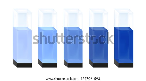 Vector Illustration Five Quartz Glass Cuvettes Stock Vector