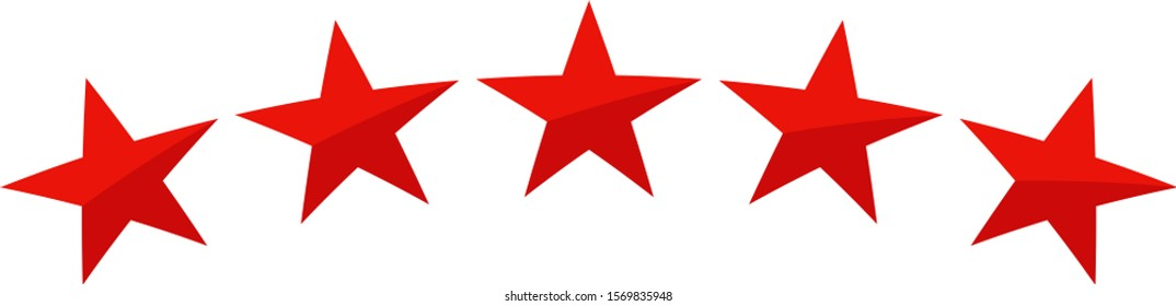 Vector illustration of five red stars in a row - best, top quality concept graphic representation