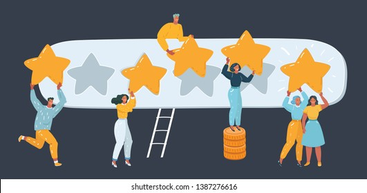 Vector illustration of Five stars rating.Tiny people are holding big giant stars over the heads. Feedback consumer or customer review evaluation, satisfaction level. Human character on dark.