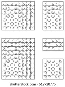 Vector illustration of five white puzzles, separate pieces