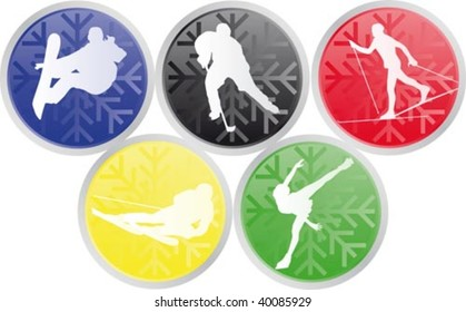 Vector illustration of five winter olympics sports icons