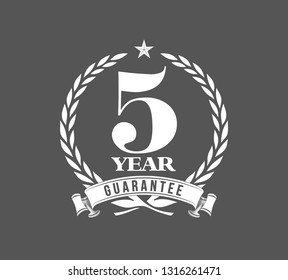 Vector illustration Five Years Warranty icon background with ribbon and olive branch isolated on black. Poster, label, badge or brochure template. Banner with Logo 5 years guarantee Label obligations