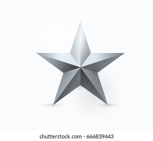 Vector illustration of five-pointed metal star design with light and shadow in realistic 3D style