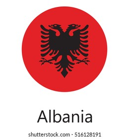 Vector illustration flag of Albania icon. Round national flag of Albania. Albania flag button