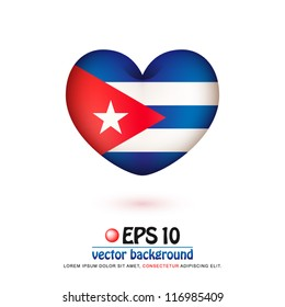 vector illustration of flag of Cuba in valentine heart shape