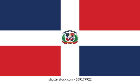Vector Illustration , Flag of the Dominican Republic