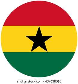 Vector illustration flag of Ghana icon. Rectangle national flag of Ghana. Ghana flag button