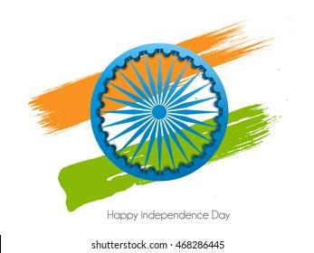 vector illustration of flag grungy with 3d Ashoka Chakra Indian eps10