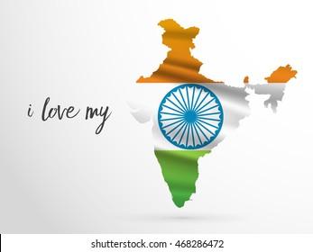 vector illustration of flag grungy with 3d Ashoka Chakra Indian map eps10