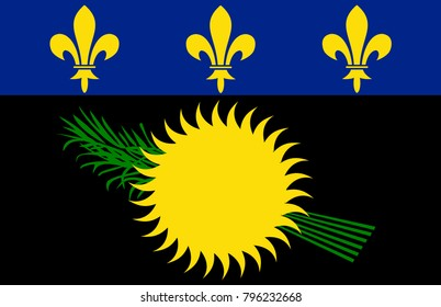 Vector Illustration Flag of Guadeloupe (France) for continue, Flag Of Guadeloupe (France) Isolated On White Background.