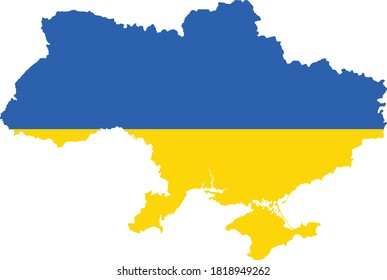 Vector Illustration of the Flag Incorporated Into the Map of Ukraine