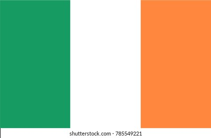 Vector Illustration Flag of Ireland for continue, Flag Of Ireland Isolated On White Background.