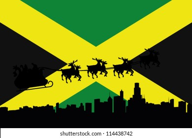 Vector Illustration of the flag of Jamaica with santa flying his sliegh over a city