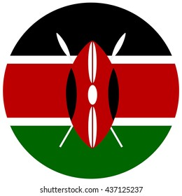 Vector illustration flag of Kenya icon. Round national flag of Kenya. Kenya flag button