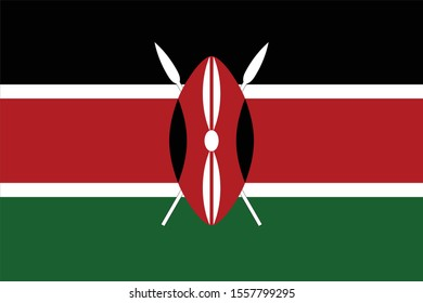 Vector illustration of Flag of Kenya on white background