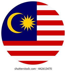 Vector illustration flag of Malaysia icon. Round national flag of Malaysia.