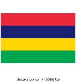 Vector illustration flag of Mauritius icon. Rectangle national flag of Mauritius. Mauritius flag button