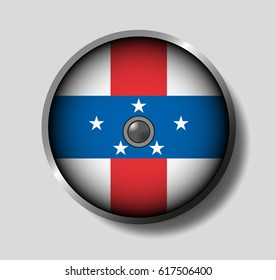 Vector illustration flag on a round shield