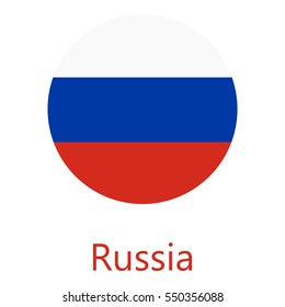 Vector illustration flag of Russian Federation icon. Round national flag of Russian Federation.
