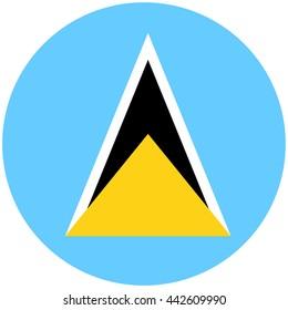 Vector illustration flag of Saint Lucia icon. Round national flag of Saint Lucia.