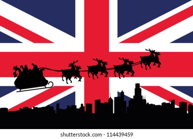 Vector Illustration of the flag of United Kingdom with santa flying his sliegh over a city