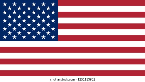 Vector illustration of the flag of the United States of America. USA flag in the most accurate proportions, sizes and colors. Independence Day.