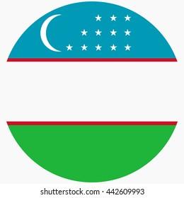 Vector illustration flag of Uzbekistan icon. Round national flag of Uzbekistan.