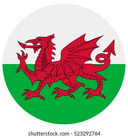 Vector illustration flag of Wales icon. Round national flag of Wales. Wales flag button
