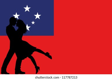 Vector illustration of the flag of Western Samoa silhouette of a couple in love