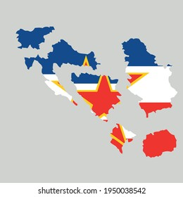 Vector Illustration of the Flag within Map of broken Socialist Federal Republic of Yugoslavia.border separated map of Yugoslavia. Separated states.