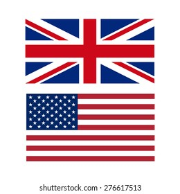 Vector illustration of flags of the US and UK