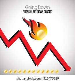 Vector illustration of flaming gold coin falling down with a down arrow graphic.
