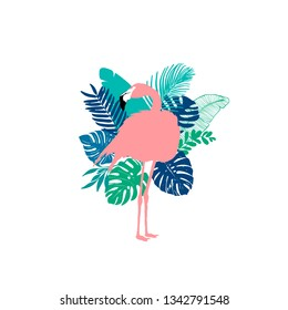 Vector illustration - Flamingo, exotic birds, tropical flowers, palm leaves, bird of paradise