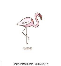 Vector Illustration of a Flamingo isolated on white background.