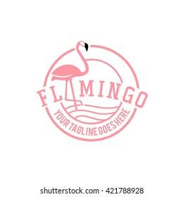 Vector Illustration of a Flamingo. Flamingo logo. Flamingo illustration idea for logo, symbol, emblem. Pink flamingo cycle logo vector