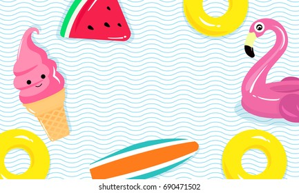 Vector illustration of flamingo pool float, pool toys, surfboard and yellow inflatable ring floating on water.