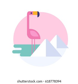 Vector illustration of flamingo for sticker or label. South America.