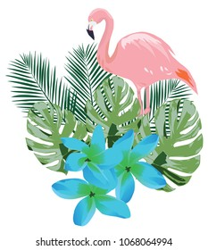 vector illustration of a flamingo with tropical flowers and leaves