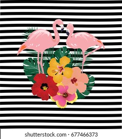 vector illustration of flamingos and tropical flowers on striped background.